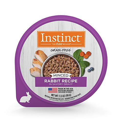 Instinct Grain Free Minced Recipe with Real Rabbit Natural Wet Cat Food by Nature's Variety, 3.5 oz. Cups (Case of 12)