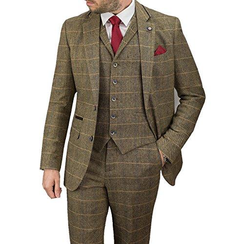 Cavani Albert 3 Stück Anzüge Check Regelmäßige Passen Tweed Blazer Braun Check UK 46 = EUR 56