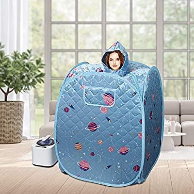 Portable Personal Sauna, 2.2L One Person Home Sauna Spa, Full Body Steam for Weight Loss Foot Rest, with Storage Bag, Remote Control, Fumigation Machine, Stool