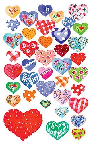 AVERY Zweckform 55811 - Papier Sticker beglimmert Herzen, Dekosticker, Aufkleber, selbstklebend, Glitzer, Gastgeschenke, Mitgebsel, Scrapbooking, Bullet Journal Zubehör,  Hochzeit, 78 Sticker