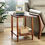 WSHFHDLC coffee table End Tables Small Coffee Table Solid Wood Sofa Side Table Living Room Small Square Table High 50cm End Table Modern Oval Accent Table small coffee tables (Size : Walnut)