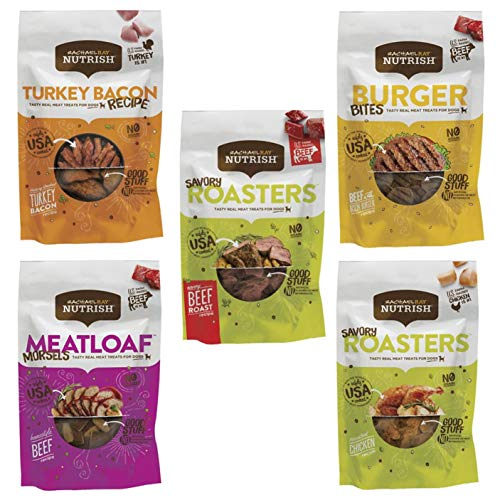 Rachael Ray Nutrish Dog Treats Variety Pack, 5 Flavors with 3oz Each - Beef Burger Bites, Chicken Savory Roasters, Meatloaf Morsels, Turkey Bacon Recipe, and Beef Savory Roasters