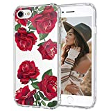 MOSNOVO Red Roses Floral Flower Pattern Designed for iPhone SE 2020 Case/Designed for iPhone 8 Case/Designed for iPhone 7 Case - Clear