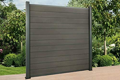 DeToWood WPC Sichtschutzzaun Lamellenzaun Gartenzaun Premium Anthrazit Alu Zaunpfosten 20 Element 21 Pfosten 240 cm (betonieren)