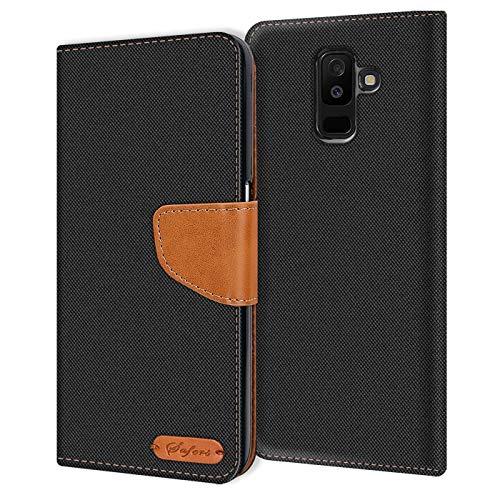 Verco Galaxy A6+ Hülle, Schutzhülle für Samsung Galaxy A6 Plus Tasche Denim Textil Book Hülle Flip Hülle - Klapphülle Schwarz