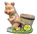 Estatua de jardín Resina Figurine Adornos de jardín de jardín Adornos de cerdo de jardín Creativo Pi...