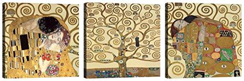 Cuadros Gustav Klimt 3 piezas 30 x 30 cm Impresión sobre lienzo con marco de madera Decoración Arte Decoración Moderno