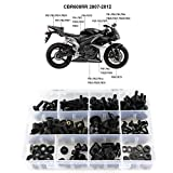 Xitomer F5 Complete Fairing Bolt Kits, Fit for Honda CBR600RR F5 2007 2008 2009 2010 2011 2012, Windscreen Bolts, Mounting Kits Washers/Nuts/Fastenings/Clips/Grommets (Matte Black)