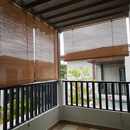 Seitenzug Bambusrollo, Holzrollo Fenster-Rollo Bambus, viel Licht, hochwertige Raffrollo für Innenfenster, Außen, Balkon, Küche