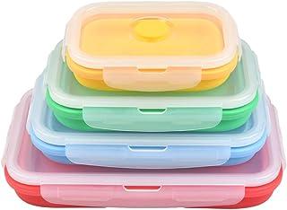 YANSHON Lot de 4 boîtes de rangement pliables avec couvercle en silicone pour congélateur, micro-ondes - Couleurs mélangées