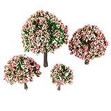 Yetaha 4pcs Pfirsich Blumen Modell Bäume Layout Zug Eisenbahn Landschaft HO OO Z Skala -