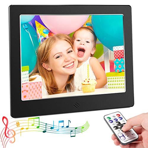 Digitaler Bilderrahmen,CrazyFire Full HD Elektronischer Fotorahmen 8 Zoll 4: 3 Elektronisches Video Musik Foto Player mit E-Book, Kalender, Fernbedienung(Schwarz)