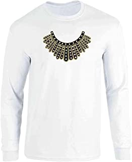 Pop Threads RBG Dissent Jabot Collar Supreme Court Justice Long Sleeve T-Shirt