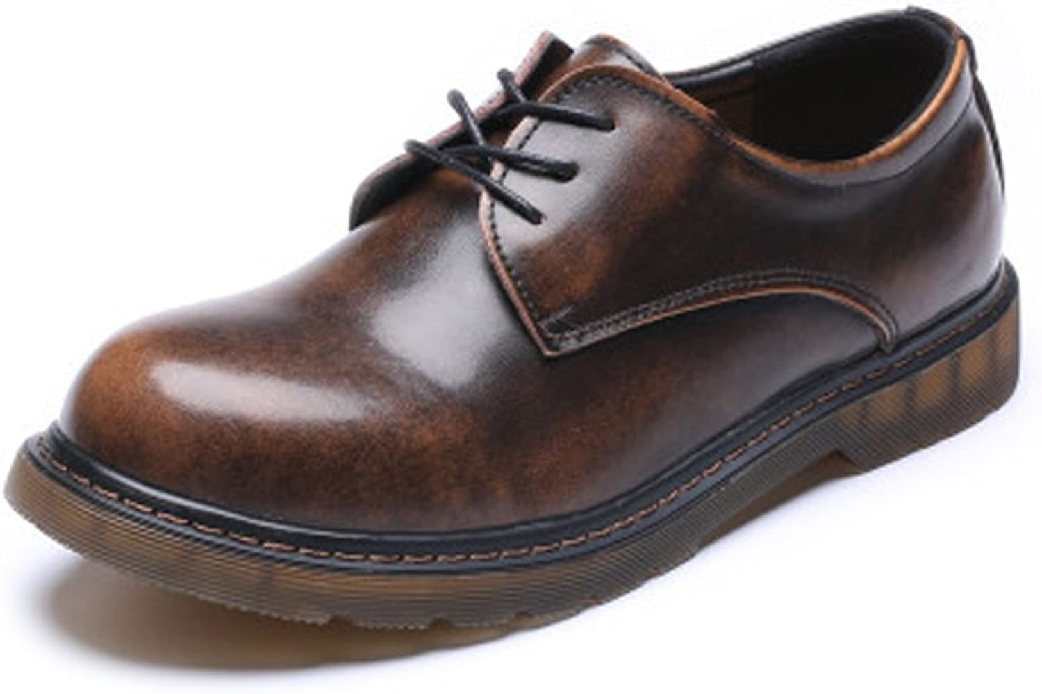 LITAO-XIE, Herrenschuhe Smooth Echtes Leder Outsole Low Top Ankle Stiefel für Herren (Farbe   Braun, Größe   42 EU)