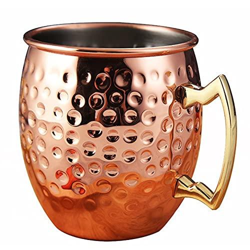 Taza de mula de Moscú de 530 ml, acero inoxidable martillado, chapado en cobre, taza de cerveza, taza de café, barra, vasos, taza de cerveza, taza para beber, punta de martillo de oro rosa