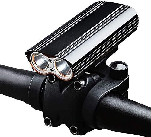 ZHENG Luces Bicicleta Luz de Bicicleta USB Recargable, Luces Frontal a Prueba de Agua con diseño antirreflejo, luz de Faro Ligero for Ciclismo Nocturno - 2 T6 LED, 4000 MAH