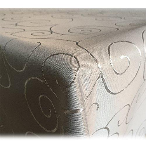 JEMIDI Tischdecke Ornamente Seidenglanz Edel Tisch Decke Tafeldecke 31 Größen und 7 FarbenHellgrau 110x180