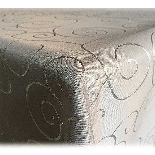 JEMIDI Tischdecke Ornamente Seidenglanz Edel Tisch Decke Tafeldecke 31 Größen und 7 Farben Hellgrau Rund160cm