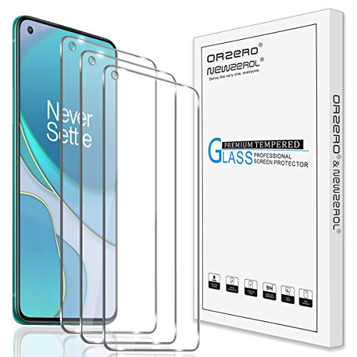 (3 Pack) Orzero Compatible for OnePlus 8T 5G Tempered Glass Screen Protector, 9 Hardness HD Anti-Scratch (Lifetime Replacement)