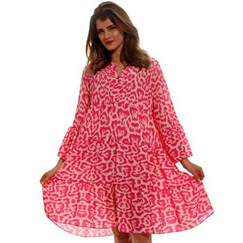 YC Fashion & Style Damen Tunika Kleid Allover Muster Boho Look Party-Kleid Freizeit Minikleid oder Herbstkleid Kleid Für Frauen mit Kurven HP219 Made in Italy (One Size, Pink/Model 3)