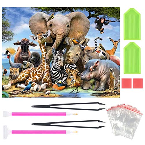 DIY 5D Diamond Painting Kit, Full Drill Animal Rhinestone Embroidery Cross Stitch Supply Arts Crafts Canvas Wall Decor