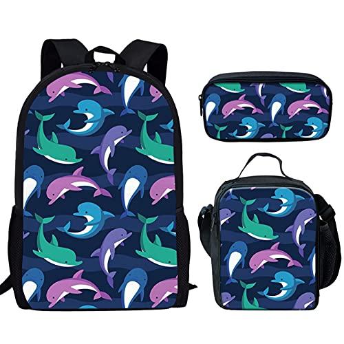 Howilath Mochila escolar para niños y niños, juego de bolsas escolares, diseño de dinosaurios de animales de 17 pulgadas, delfín, 17 inch (3PCS Set), Juego de bolsos escolares