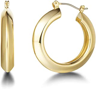Fancime 14K Yellow Gold Plated High Polished Round Tube Click-Top Medium Graduated Hoop Earrings Hypoallergenic Fashion Jewelry Gift for Women Girls Teens, Diameter: 1.2/1.4""