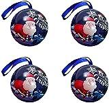 Paquete de 4 latas de metal navideñas para galletas, tarro, contenedores de almacenamiento de dulces, galletas, lata para regalos de Navidad, año nuevo, fiesta - Feliz Navidad