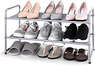 Simple Trending 2-Tier Stackable Shoe Rack, Expandable & Adjustable Fabric Shoe Shelf Storage Organizer, Silver