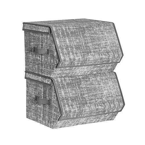 SONGMICS Cajas organizadoras, Cajas apilables de Almacenamiento con Tapa, Juego de 2 Organizador para Ropa, Juguetes, Marco metálico, Cierre magnético, Gris RLB002G01