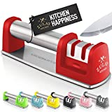 Zulay Premium Quality Knife Sharpener for Straight and Serrated Knives Stainless Steel Ceramic and Tungsten - Easy Manual Sharpening for Dull Steel, Paring, Chefs and Pocket Knives - Red