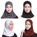 GladThink La Mujer Musulmana Mini Hijab Caps Bufanda Islámica 4 Piezas Set No.1