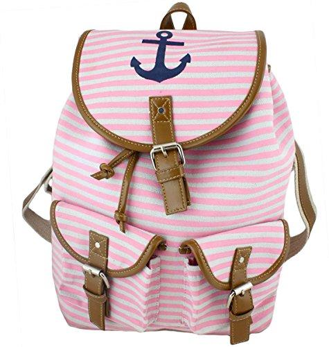 Sonia Originelli Rucksack Marlene Anker Streifen Maritim Tasche Farbe Rosa-Marine