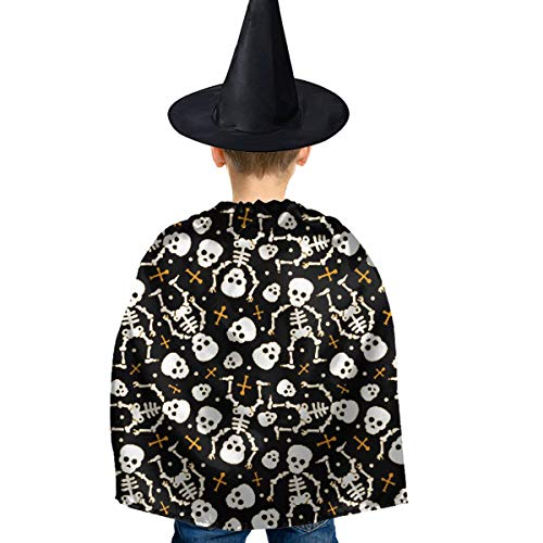 Amoyuan Unisex Kids Kerstmis Halloween Heks mantel met hoed Cool schedels Halloween Skeleton Wizard Cape Fancy jurk