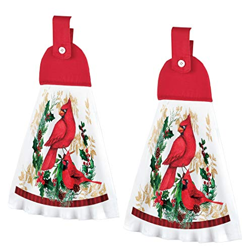 Collections Etc Printed Holiday Cardinal Kitchen Towels - Set of 2