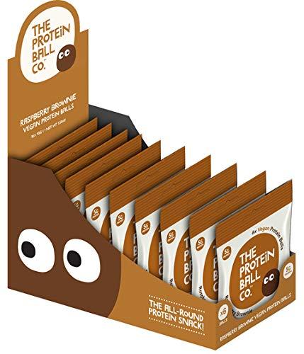 Raspberry Brownie ラズベリー ブラウニー ビーガン プロテインボール Vegan 45g x 10袋/ケース エナジーボール おいしいおやつ プロテイン12% グルテンフリー 砂糖・卵不使用 ノンGMO ヘルシースナック 携帯食 机の中に