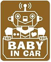 imoninn BABY in car ステッカー 【マグネットタイプ】 No.50 ロボットさん (ゴールドメタリック)