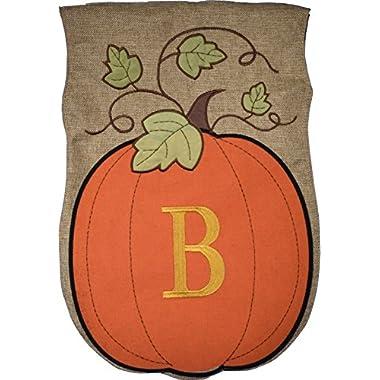 JEC Home Garden Flag Monogram Fall Pumpkin Burlap Autumn Garden Flag 12.5 x 18 (B)