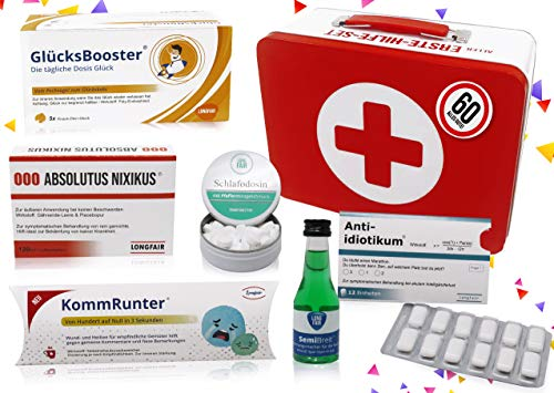 60. Geburtstag | Erste Hilfe Set Geschenk-Box, witziger Sanikasten | 8-teilig | Spaßgeschenk zum 60. Geburtstag