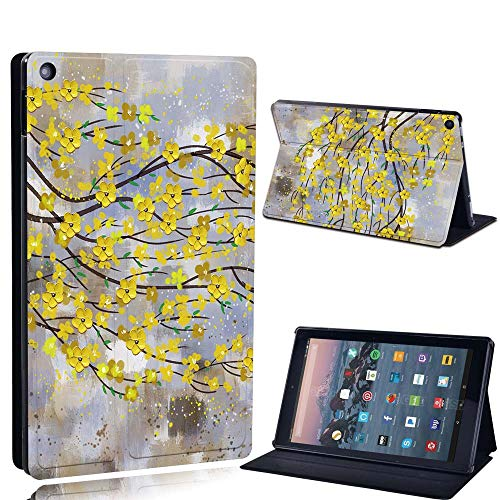 FINDING CASE For Amazon re HD 10 (5th 7th 9th Gen) Tablet - Printed PU Flip Leather Smart Lightweight Shell Stand Cover Case for re HD 10 (5th 7th 9th Gen) (yellow leaf paint)