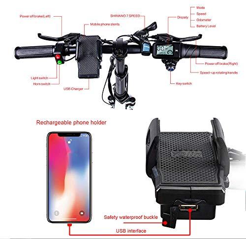 SAMEBIKE Ruota da 20 Pollici 350W Bici elettrica 48V 10.4AH Batteria al Litio con Telecomando Pieghevole Bicicletta elettrica per Adulti (Nero)