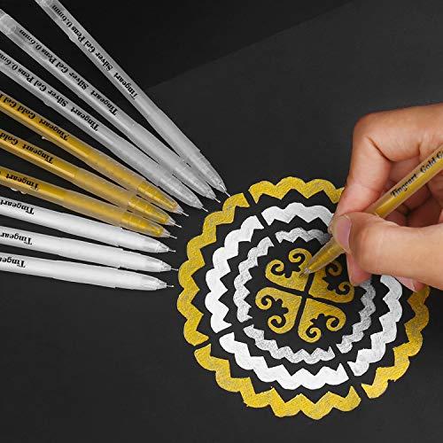 Tingeart Premium 3 Colors Gel Pen Set - White, Gold and Silver Gel Ink Pens, Archival Ink FineTip Sketching Pens for Illustration Design, Black Paper Drawing, Adult Coloring Book, Pack of 9