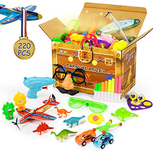 Joyjoz 220 Pcs Carnival Prizes, Party Favors for Kids, Prizes Box Toy Assortment for Boys Girls, Treasure Box Prizes Gift for Party, Birthday, School, 22 kinds Toys Set
