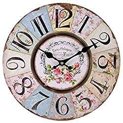 Sarora - 16 Inch French Vintage Style Wall Clock Shabby Chic Floral Patchwork Battery Operated Silent Non-Ticking Digital Quiet Sweep Home Office Decoration