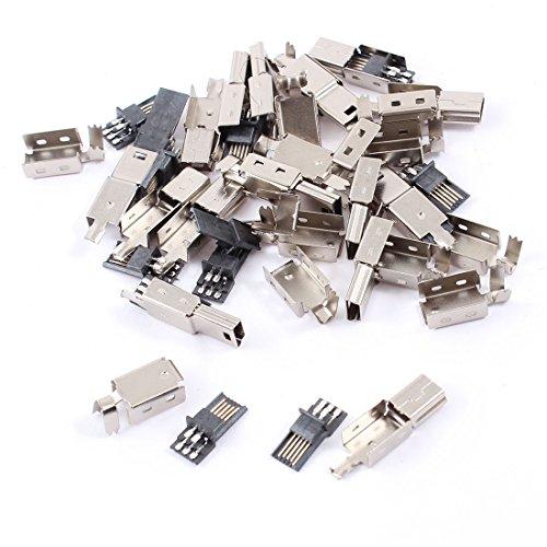 sourcing map 15pcs Mini USB 5 Pin Male Jack Connector Lötend Plug Adapter mit Metall Gehäuse DE de