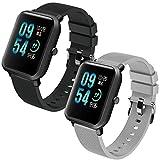 Th-some Correa para Amazfit Bip Impermeable Universal - 2 Pcs Reemplazo de Pulsera Ajustable para Xiaomi Huami Amazfit Bip bit Lite Youth/Amazfit GTR 42mm Watch, Negro Gris Sin Tracker