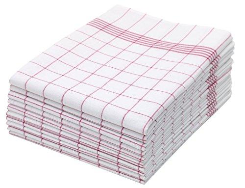 ZOLLNER 10er Set Geschirrtücher, 50x70 cm, 100% Baumwolle, rot kariert