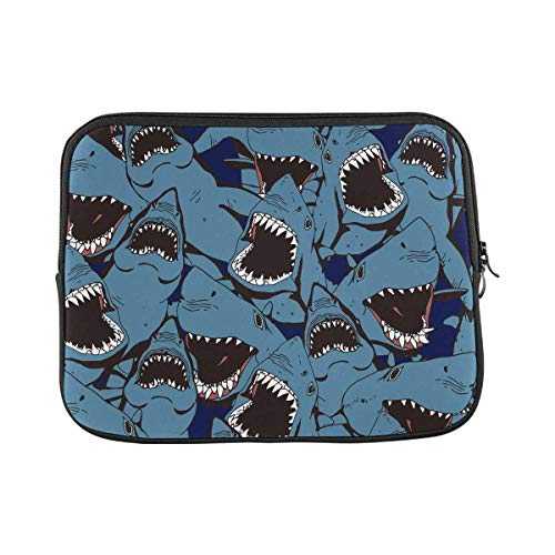 INTERESTPRINT Laptop Protective Sleeve Waterproof Case Bag Sea Life Angry Shark Carrying Case Cover 14 Inch 14.1 Inch