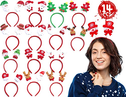 KIDPAR Pack of 14 Christmas Headbands, Cute Holiday Headbands Bulk for Women Man Girls Boys Kids, Fit All Sizes, Fun for Holiday and Season Themed Party, Christmas Dinner & Photos Booth
