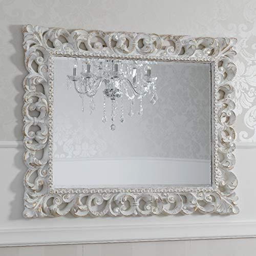 SIMONE GUARRACINO LUXURY DESIGN Specchiera Zaafira Stile Barocco Cornice Traforata Avorio e Foglia Oro Specchio molato cm 94 x 74
